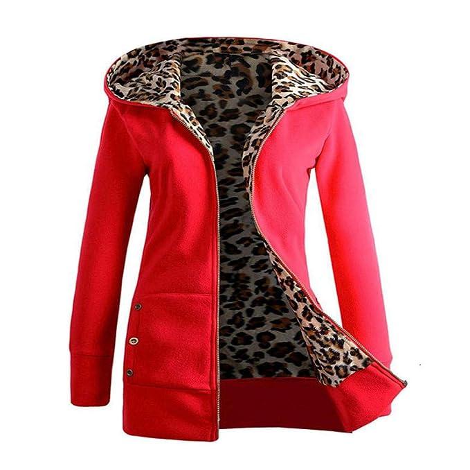 SuperSU Frauen Kapuzenpullover Leopard Zipper Coat Große Größe Sweatshirt Damen Pulli Softshell Warm Jacke Damen Freizeitjack