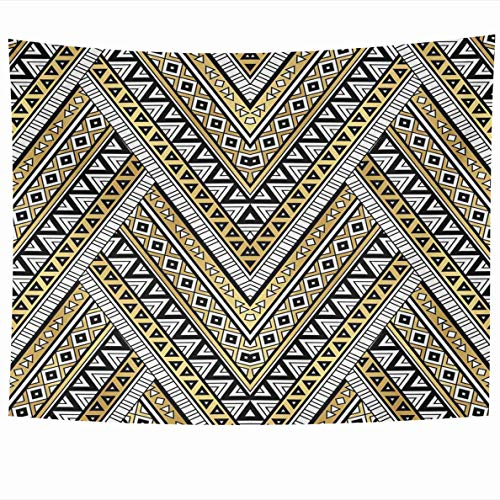 Ahawoso Tapestry 80 x 60 Inches American Culture Gold Black White Color Tribal Navajo Retro Zigzag Aztec Abstract Geometric Ethnic Home Decor Wall Hanging Tapestries for Living Room Bedroom Dorm