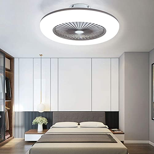 22 Inch Ceiling Fan with Light and Remote Control,Modern LED Semi Flush Mount Light Fandelier,Acrylic Blades,3 Colors 3 Speeds,36W,Enclosed Fan,Quite Motor,for Home Living Room Brown