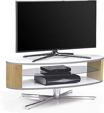 MDA Designs órbita 1100 Wo Blanco Brillante Soporte para televisor con Roble elíptica Lados para televisores de Pantalla Plana de hasta 55