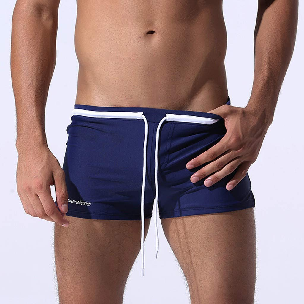 Kanhan Men Slim Breathable Trunks Swimsuits Swim Trunks Boxer Briefs Beach Shorts