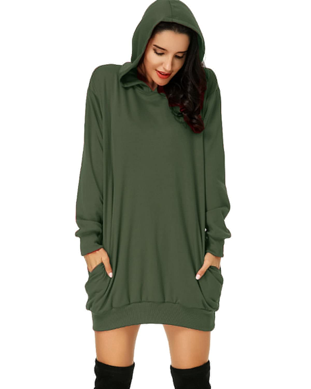d79b9f80112 Auxo Women s Long Sleeve Hooded Pockets Pullover Hoodie Dress Tunic  Sweatshirt at Amazon Women s Clothing store