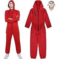 IEFIEL Disfraz de Ladrón Unisex Adulto Costume Mono Body Romper Jumpsuit para Halloween Cosplay Carnaval
