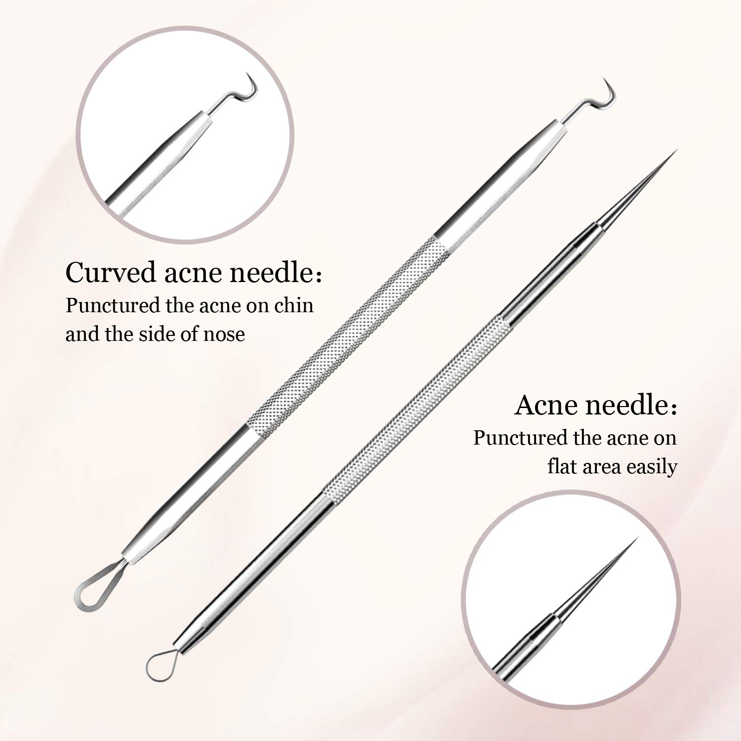 LUBEAU Blackhead Remover Tool Pimple Popper Acne Pimple Comedone Extractor Spot Remover Tool for Whitehead Blemish Zit, Facial Care Skin Protect with Leather Case and Mirror (6 pcs)