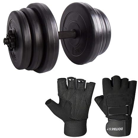 CCLIFE 20kg 30kg Juego de Pesas Mancuernas plástico de Fitness, Color:30kg+Handschuhe