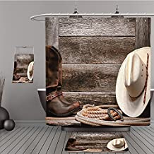 Uhoo Bathroom Suits & Shower Curtains Floor Mats And Bath Towels 118723879 American West rodeo traditional white straw cowboy hat with authentic Western lariat lasso and roper leather boots on distres