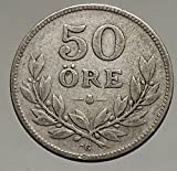 1934 SWEDEN - King GUSTAF V - SILVER 50 Ore ӦRE Coin - Crowns in Shield i56764