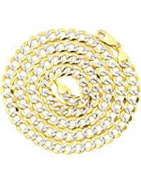 "10K Yellow Gold 7mm Solid Pave Two-Tone Curb Chain Necklace with White Gold Pave Diamond Cut, with Lobster Lock (18"" to 30"")"
