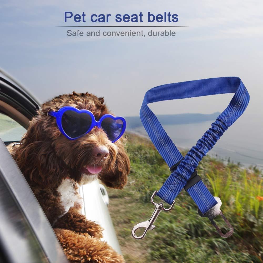 WJHA Dog Seat Belt, Pet Seatbelt Clip Tether Puppy Safety Latch Bar Attachment Harness Leash Small Medium Large Dogs Adjustable Restraint Lockable Swivel Carabiner,Orange