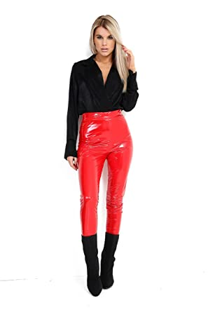 62bc92193d4f8 Women Ladies Shiny Vinyl Leggings PVC Wet Look Shiny Disco Pant New Size  6-12 (Red, 10): Amazon.co.uk: Clothing