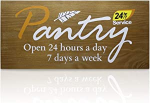 "BBKD Solid Oak Wooden Pantry Sign, Rustic Pantry Wall Decor, Farmhouse Wall Décor, Pantry 24hr/7 Service Open 24 hours a day 7 days a week, 17""x7.5"" (Brown)"