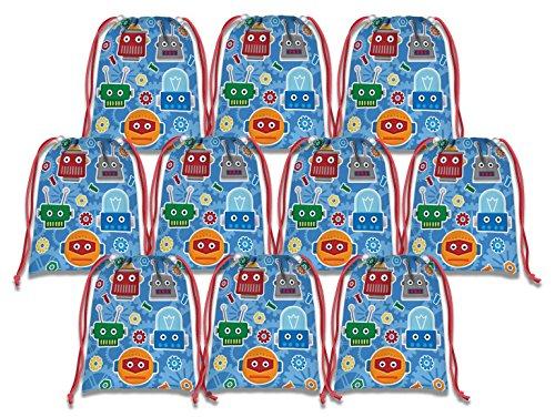 Robot Drawstring Bags Kids Birthday Party Supplies Favor Bags 10 - Supplies Robot