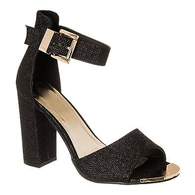 1814c0e7916 Womens Ladies Medium Block Heel Sandal with Open Toe & Ankle Strap ...