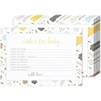 50 Sheets Baby Shower Well Wishes Party Games - for Boy or Girl Unisex Gender Neutral - for 50 Guest Activities Supplies - 5 x 7 Inches
