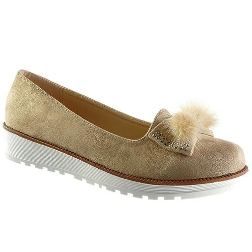 Angkorly - Zapatillas Moda Mocasines Slip-on Mujer Nodo Pompom Strass Talón Plataforma 3 CM: Amazon.es: Zapatos y complementos