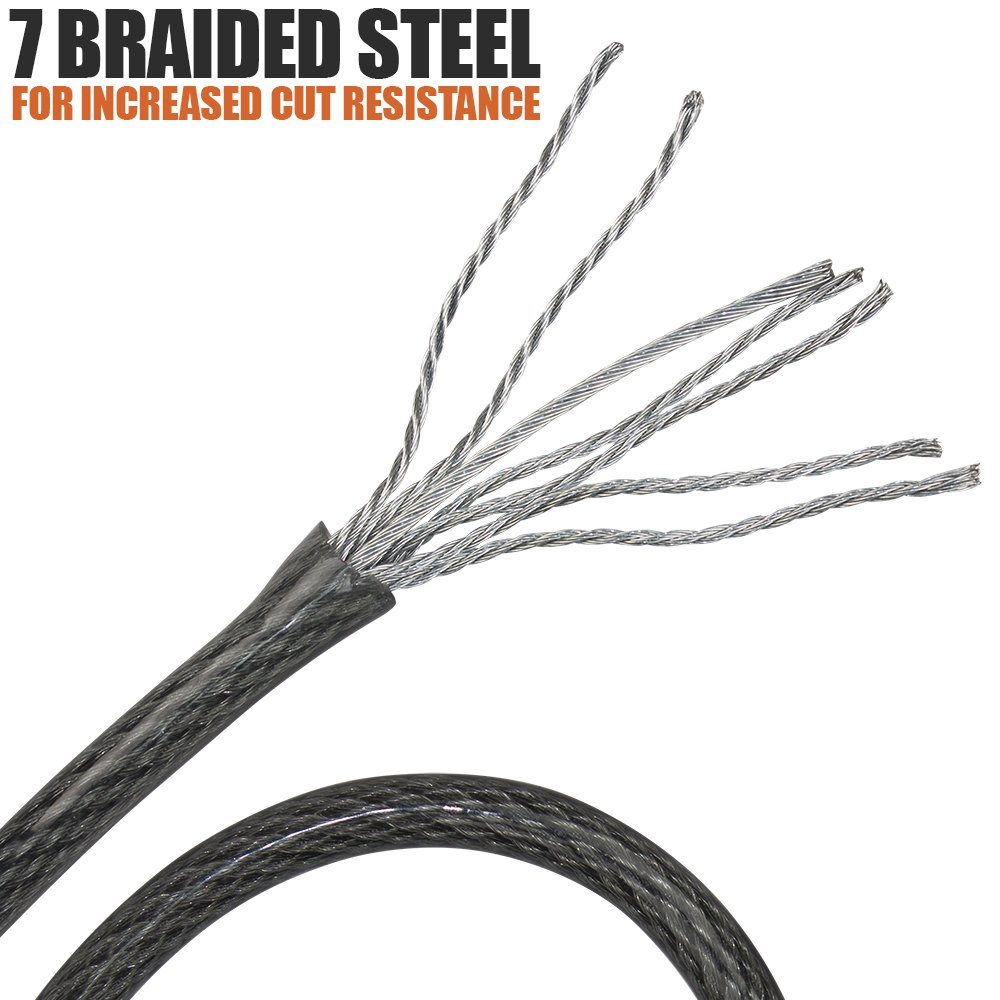 Double Looped Braided Steel Flex Lock Cable 3//8 Inch U-Lock Padlock Disc Lock BV 4FT 7FT Security Steel Cable