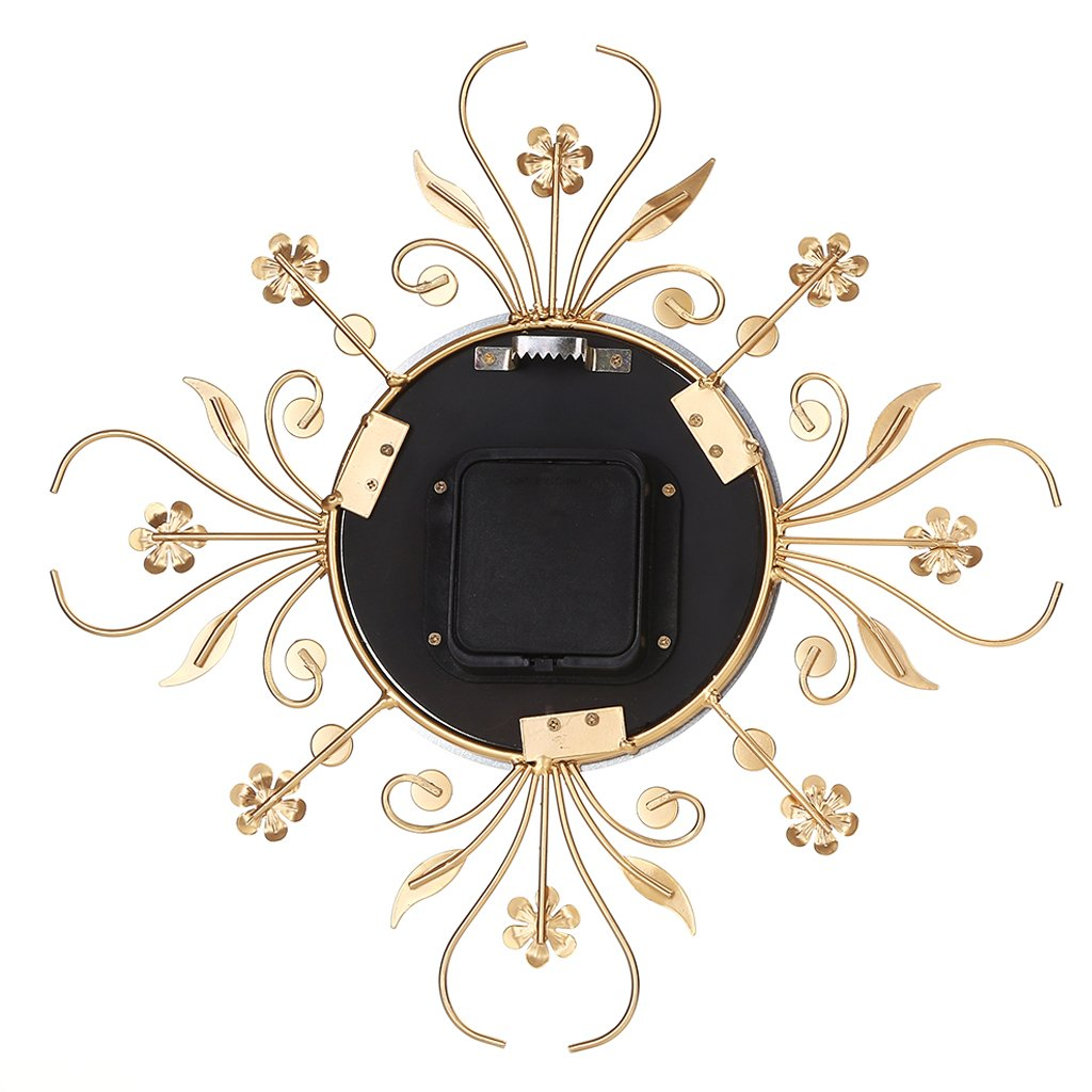 BloomingJS Modern Metal Wall Clock Luxurious Flower Diamond Rhinestone Silent Room Home Office Decor (Gold)