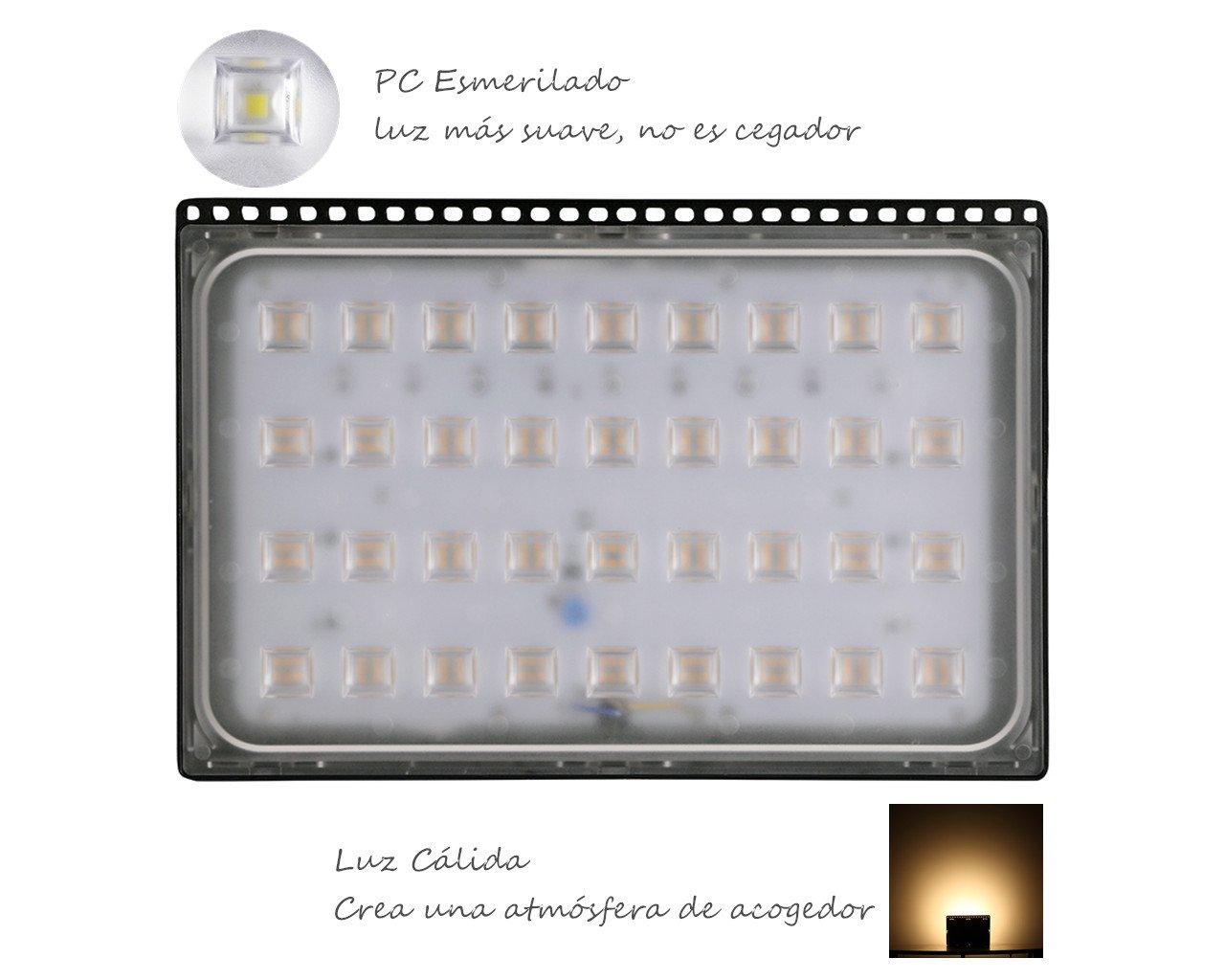 IP67 Impermeable 50w Luz C/álida: 6000-6500K 1 pcs Iluminaci/ón Interior y Exterior Yuanline LED Slim Foco Proyector 2835 LED Bombilla