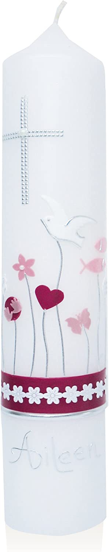 Candleworld-Fulda Taufkerze mit Wachsverzierung runde Form Vintage-Style T86 modern f/ür M/ädchen in rosa-Bordeaux-T/önen 300//60 mm personalisiert mit Name und Datum inkl stabilem Geschenkkarton