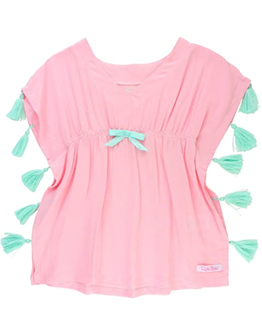 f89ab8229a RuffleButts Infant/Toddler Girls Pink Tassel Kaftan Swimsuit Cover-up Tunic  - Pink -