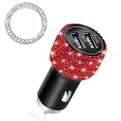 Otostar Quick Charge 3.0 Car Charger Bling Car Accessories Crystal Diamond Dual USB Car Charger Adapter for iPhones Android Phones (Red): Home Audio & Theater
