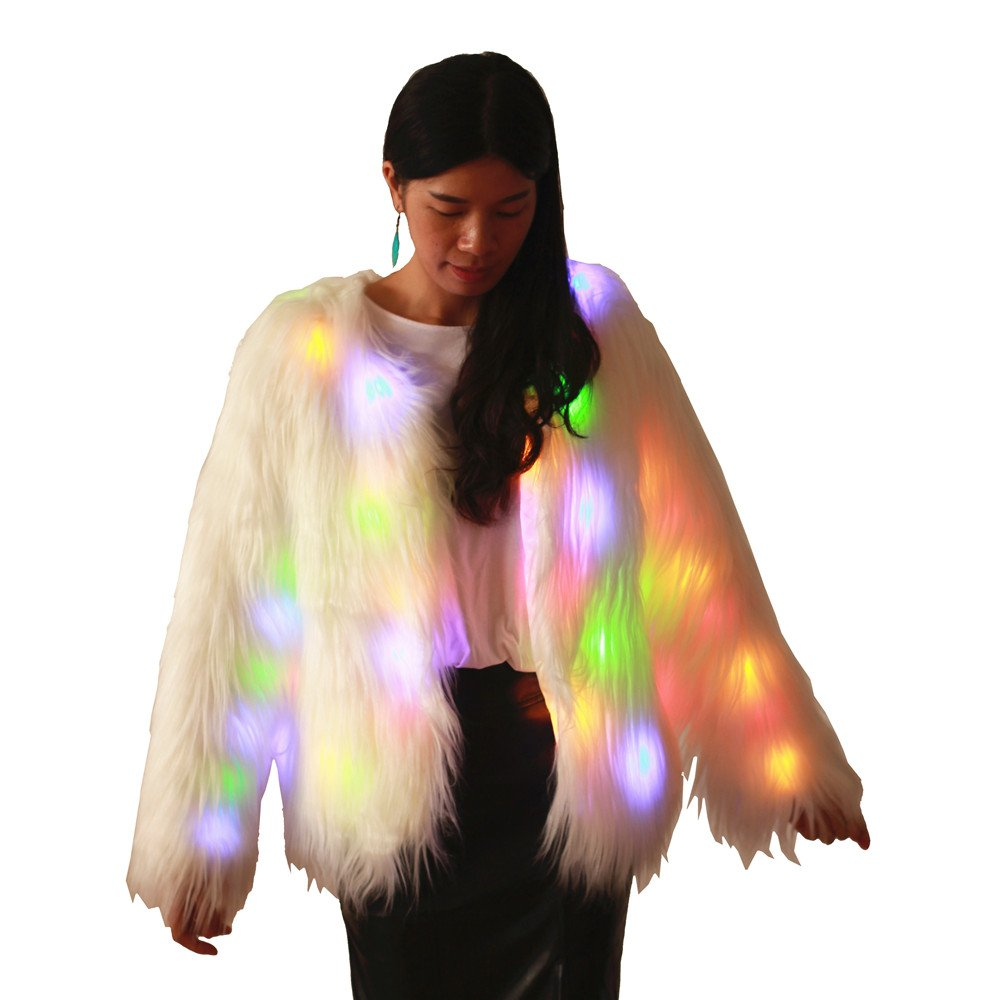 M MAYEVER Women Girls Light Up Shaggy Faux Fur Coat Jacket Multicolor Led Halloween Carnival Party Costume (Size XL, Long Fur Coat)
