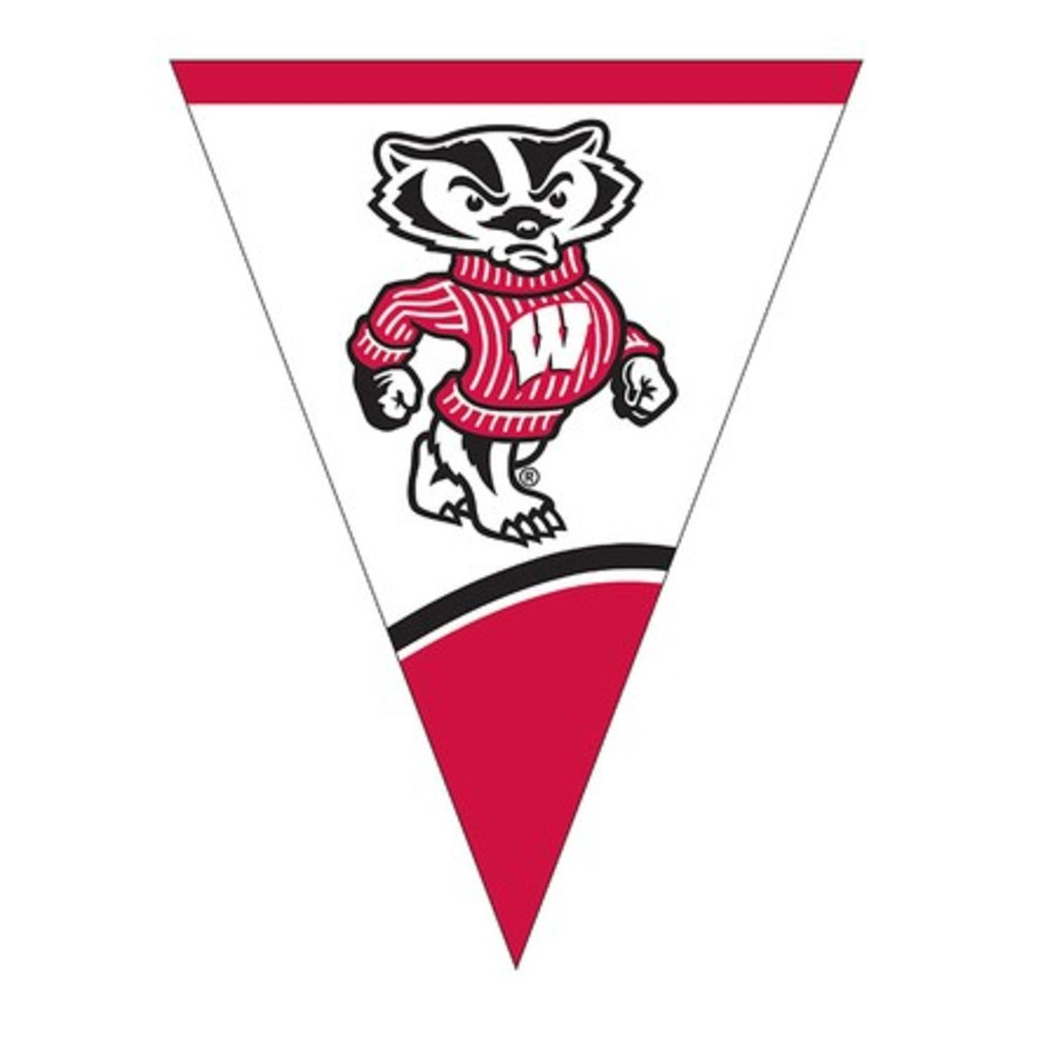Club Pack of 12 NCAA University of Wisconsin Plastic Flag Party Decoration Banner 8.5'