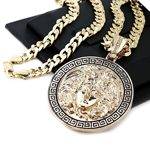 Raonhazae Hip Hop Iced Out ROUND MEDALLION MEDUSA Pendant W/10mm 24