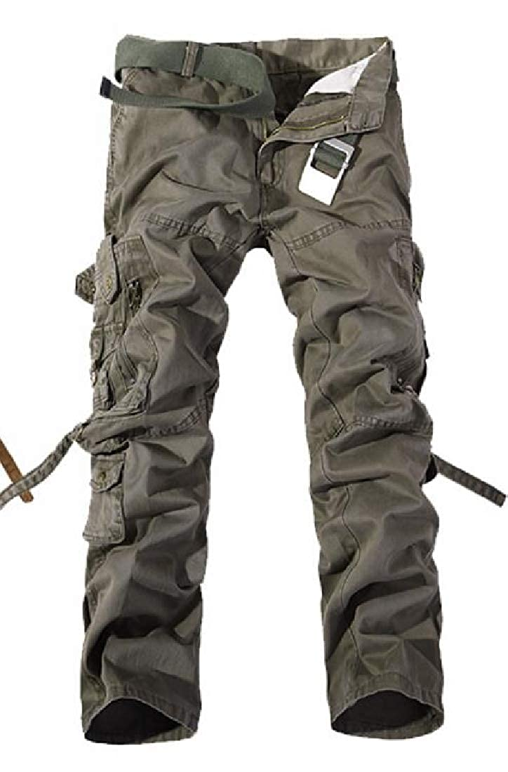 CRYYU Men Cotton Multi Pockets Plus Size Mid Waisted Casual Cargo Pants Trousers