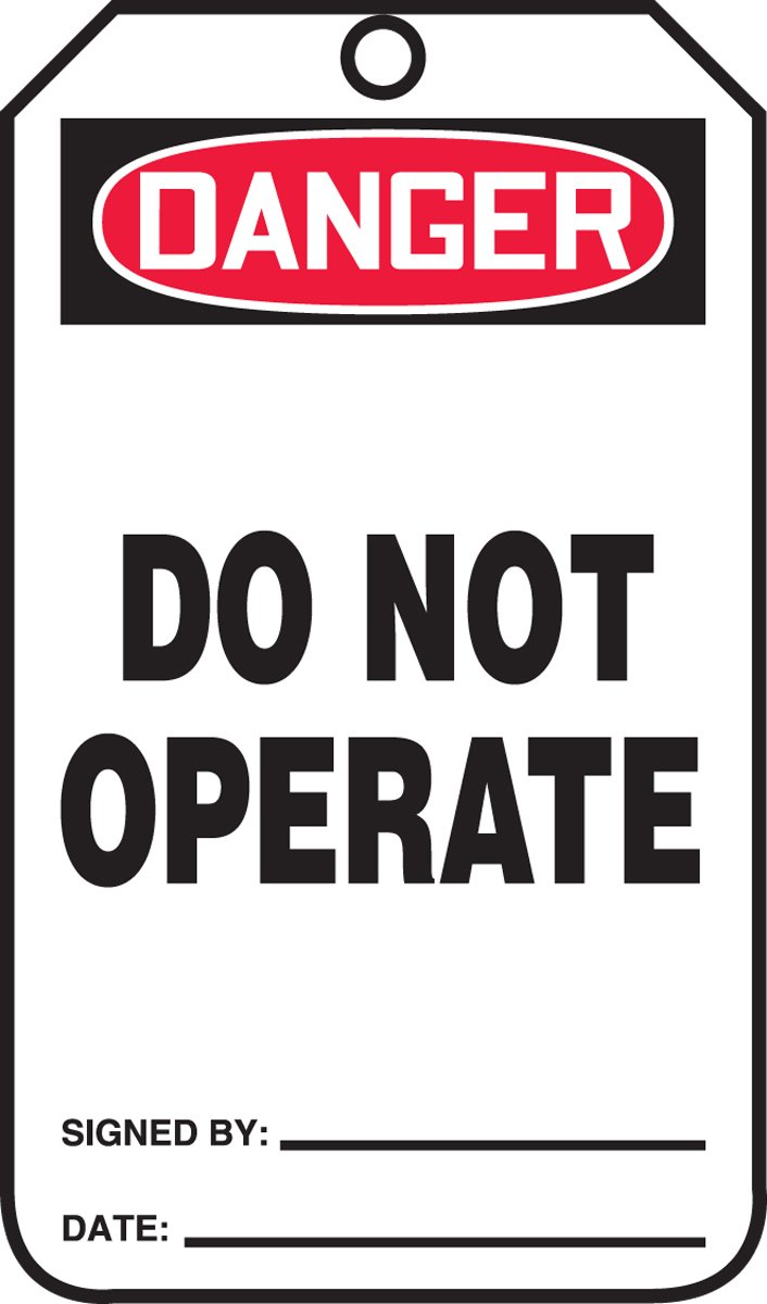 Accuform MDT287CTP Accuform PF-Cardstock Jumbo Tag, Legend''DANGER Do Not Operate'', 8-1/2'' Length x 3-7/8'' Width x 0.010'' Thickness, Red/black On White (Pack of 25)