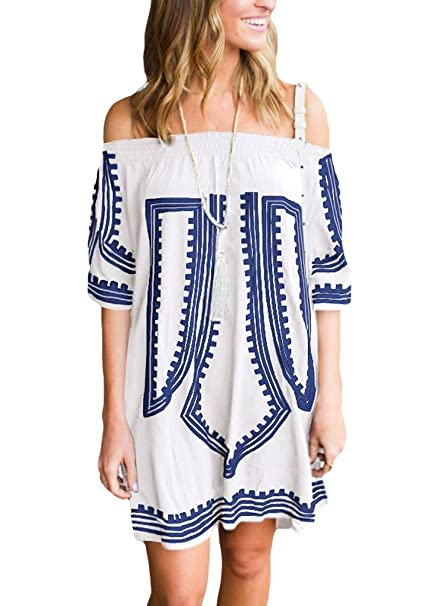 df87710102 GOSOPIN Women Print Kimono Sleeve Geometric Tunic Boho Dress One  Size/Medium White at Amazon Women's Clothing store:
