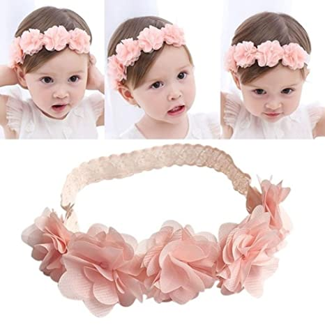 Diadema de flores para bebé, lindo adorno de encaje y flores para niñas, accesorio para la cabeza
