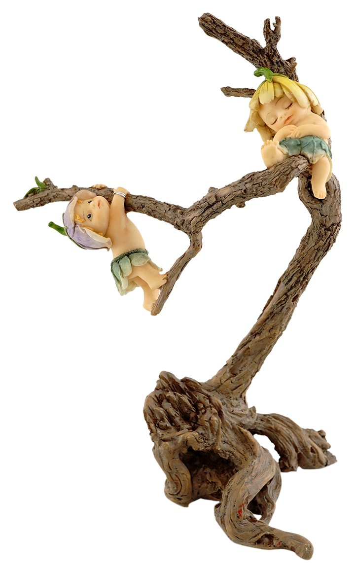 Top Collection Miniature Fairy Garden and Terrarium Sprites Playing on Tree Branch Figurine