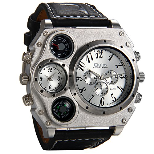 - Avaner Mens Military Quartz Wrist Watch Black PU Leather Strap Big Face Two Time Zone Analog Display Compass Thermometer Decorative Dial Sport Watch