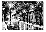 zen rain oil - STARTONIGHT Canvas Wall Art Black and White Abstract Walking in The Rain, Framed Wall Decor 24