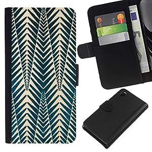 All Phone Most Case / Oferta Especial Cáscara Funda de cuero Monedero Cubierta de proteccion Caso / Wallet Case for Sony Xperia Z3 D6603 // Pattern Picea Green White Shapes