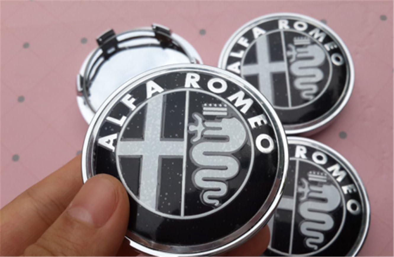 chuchu88 4x60mm 2018 Alfa Romeo Black Car Wheel Center Hub Cap Badge Aluminium Logo
