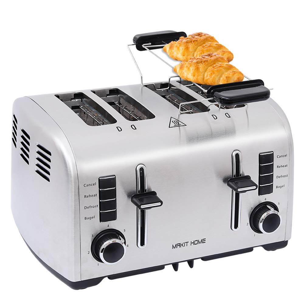 Toasters 4 Slice Best Rated Prime, Retro Small Toaster with Bagel, Cancel, Defrost Function, Reheat, Extra Wide Slot Compact Stainless Steel Bread Toasters for Bread Waffles Small Retro Toaster Oven by Catch Supplies