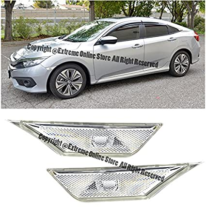 Amazon.com: Extreme Online Store 2016-Present Honda Civic Crystal Clear Lens JDM Front Bumper Fender Reflector Side Marker Lights Turn Signal Lamps Pair: ...