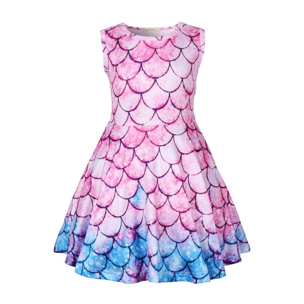 Toddler Ballet Dress Mermaid Dress Girl Colorful Fish Scale Dress 3D Print Short Sleeve Swing Skirt Casual Kids Party Dress