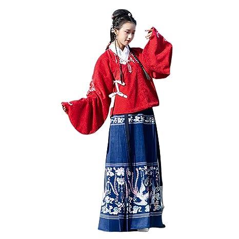 YCWY Mujeres Chinas Antiguas Hanfu Vintage Chino Bordado ...