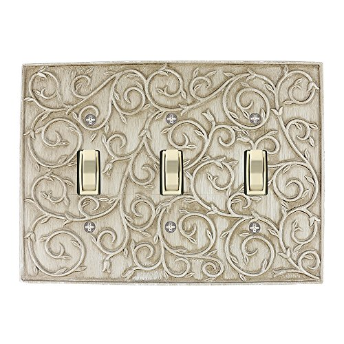 Gold 3 Light Wall (Meriville French Scroll 3 Toggle Wallplate, Triple Switch Electrical Cover Plate, Weathered White)