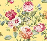 Pink and Yellow Cabbage Rose Bouquet Wallpaper