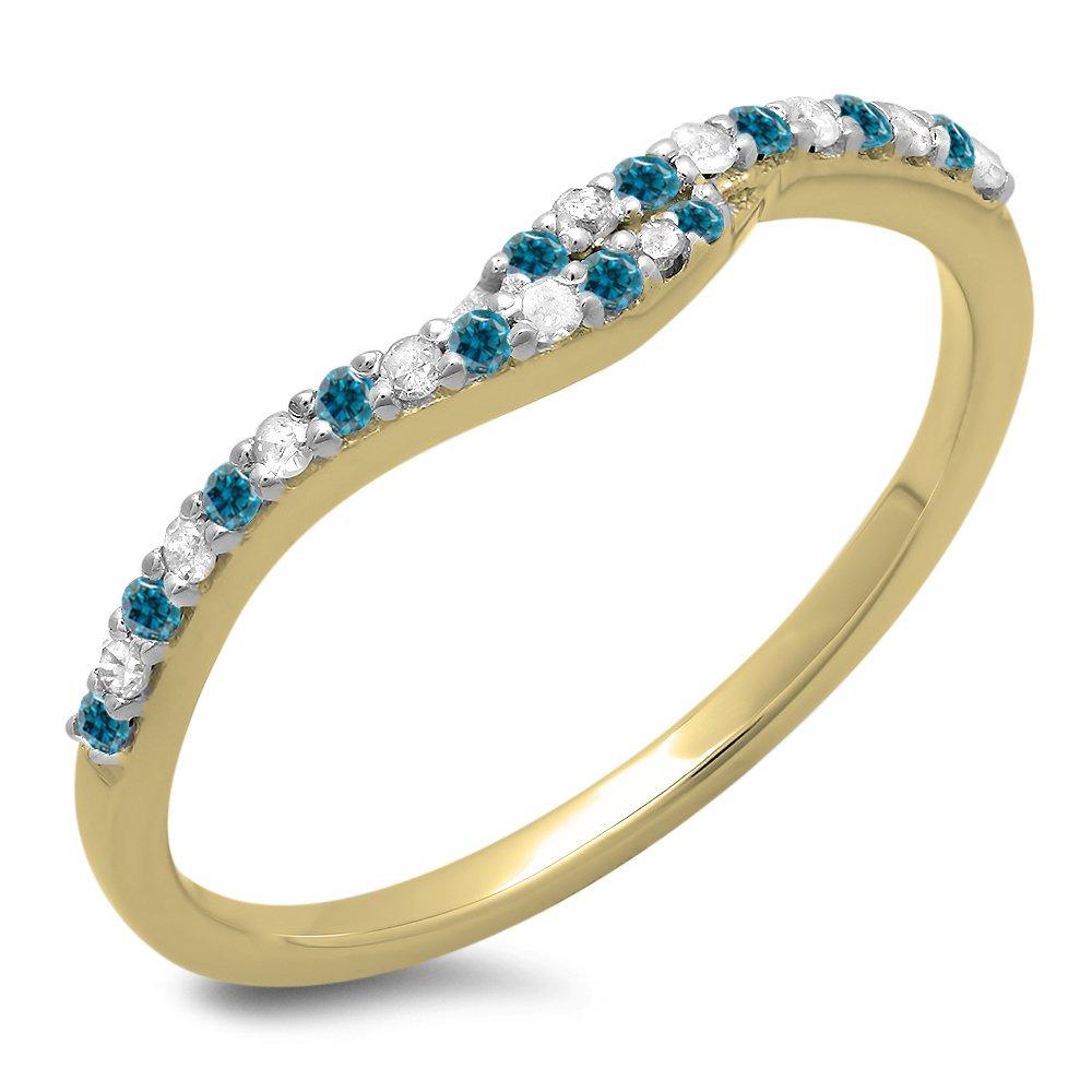 DazzlingRock Collection Femme 0,20 Carat Or 18K Ronde Bleu et Blanc Diamant Mariage bandee Garde Anneau 1/5 CT 5 DR3076-2349-18KY-5