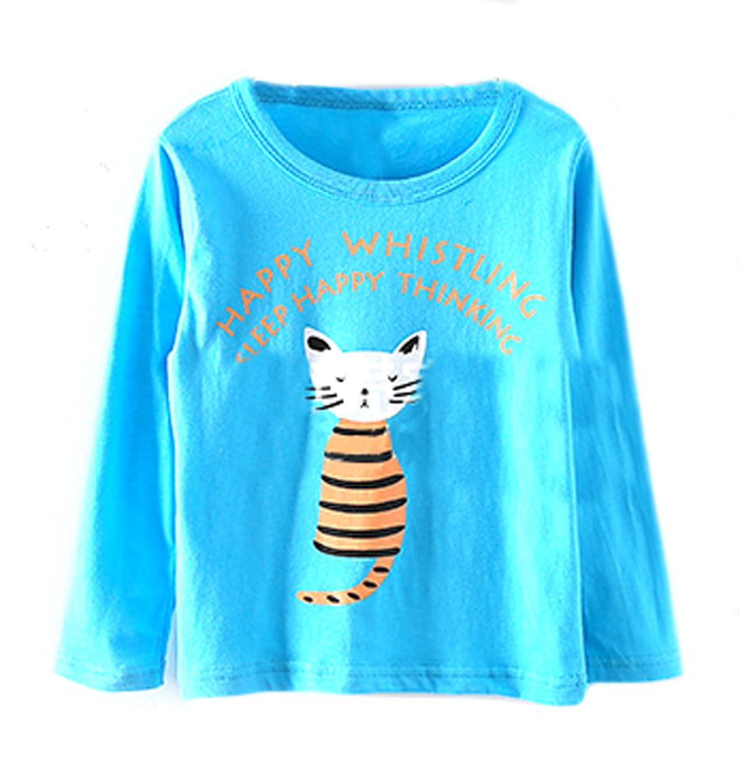 Pipi Little Boys Popular Girls Popular Cat Striped Letter Long Sleeve Shirts Top 5T blue