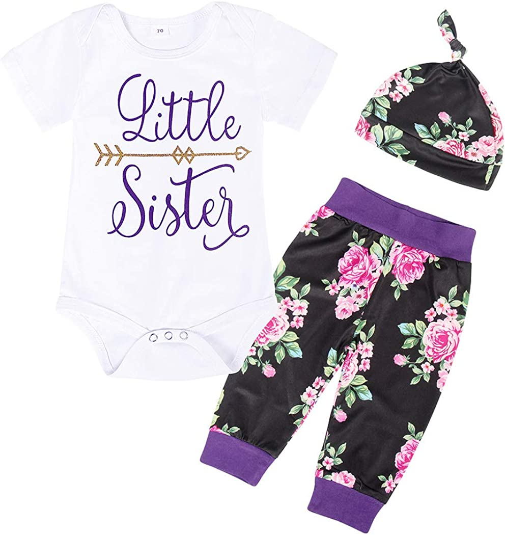 Cotrio Newborn Baby Girls Romper Outfit Inafnt Toddler Floral Pants Clothes Set with Headband