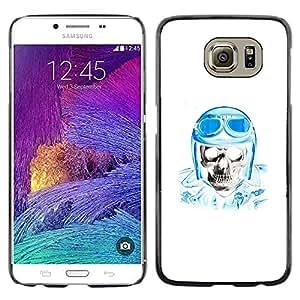 Plastic Shell Protective Case Cover || Samsung Galaxy S6 SM-G920 || Biker Helmet Blue Skull Pilot White @XPTECH