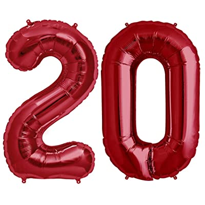 Tellpet Red Number 20 Balloons, 2020 Balloons, 20th Birthday Party Decorations Supplies, 40 Inch: Toys & Games
