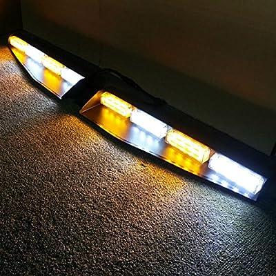 VSLED 2-16 LED 96 Watt Car Truck Emergency Beacon Light Bar Exclusive Split Visor Deck Dash Strobe Warning LightBar Amber/White/Amber/White LightBar: Automotive