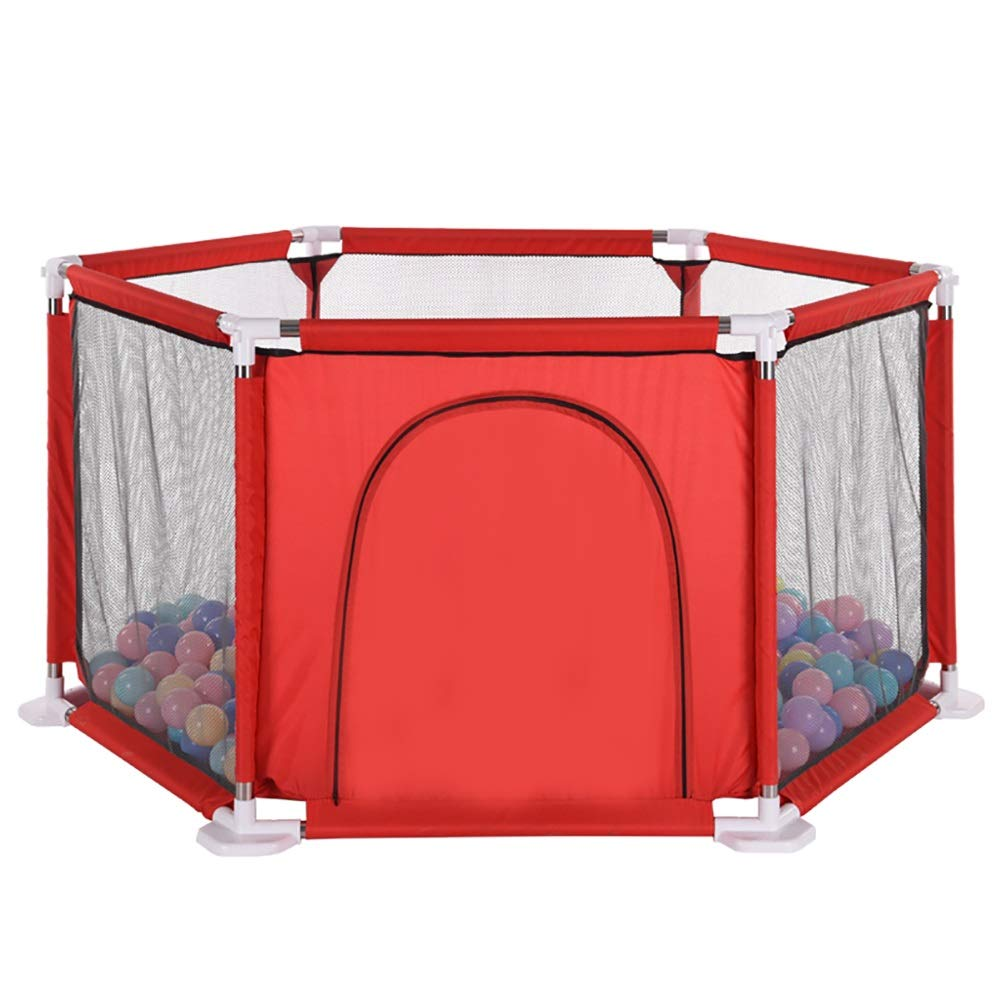 ベビーサークル 室内6パネル幼児の安全プレイフェンスベイビープレイヤード、200ボール、ジッパーのドアを持つポータブルキッズプラカード (色 : Red)   B07KZXZYTL